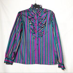 Vintage Leo Paley light taffeta ruffle striped